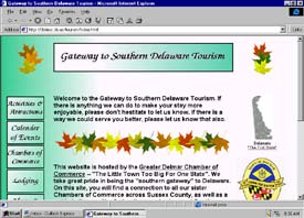 Gateway to Southern Delaware Tourism. web site front page