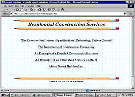 Residential Construction Services web site front page